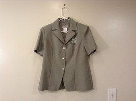 Dressbarn Green Gray Short Sleeve V Neck Top Button Up Front Size 12