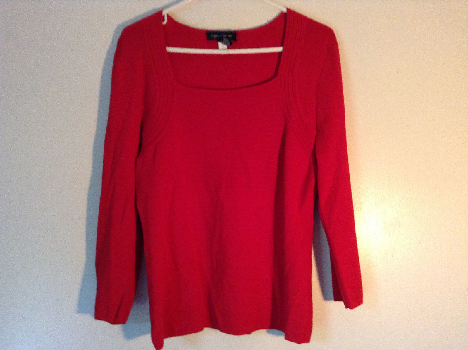 Dressy Red Long Sleeved Top by Cable and Gauge Stretchy Size Large