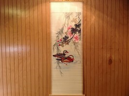 Ducks in Water Scroll Picture Wall Hanging Wooden Scroll Print