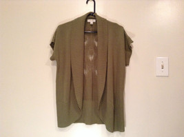 Dressbarn Short Sleeve Knitted Olive Green Open Front Sweater Sizes 14 to 16