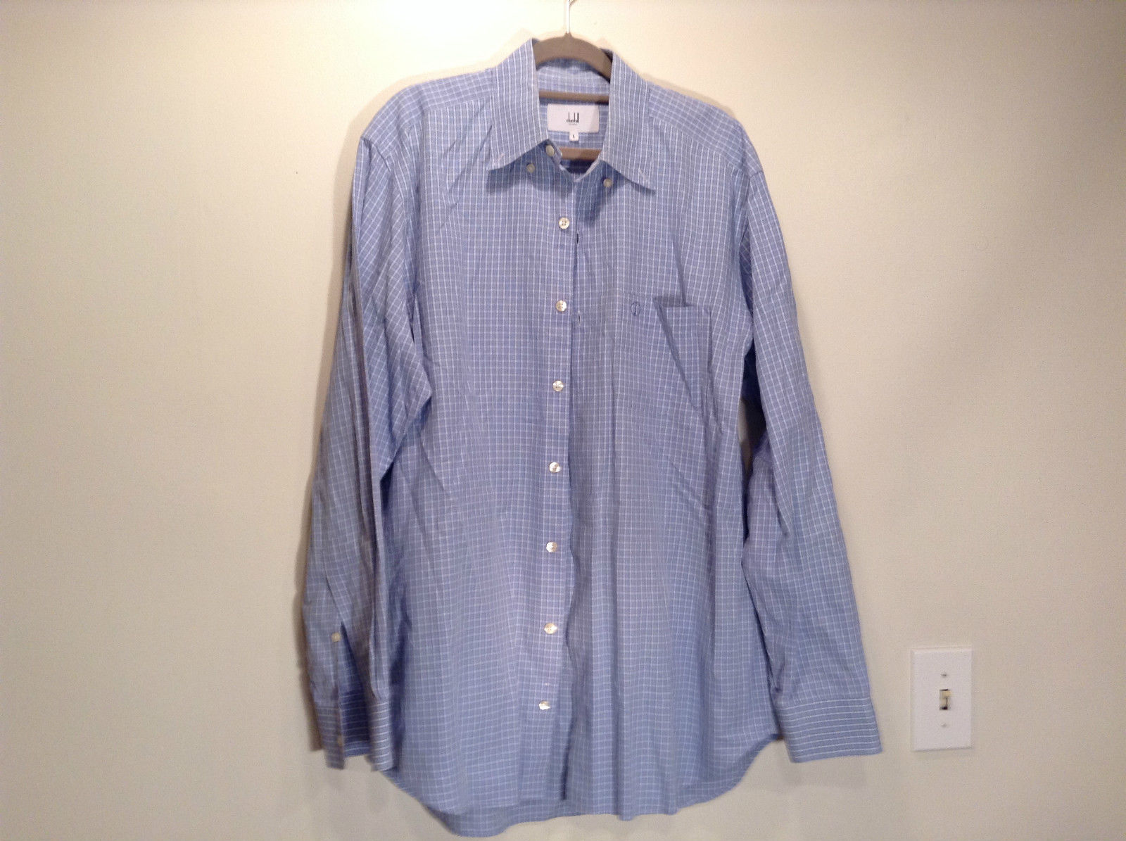 Dunhill Size L Long Sleeve Dress Shirt 100 Percent Cotton Light Blue Pattern