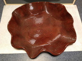 Decorative Large Brown Handmade Serving tray Geometric Designs for chicken meats image 4