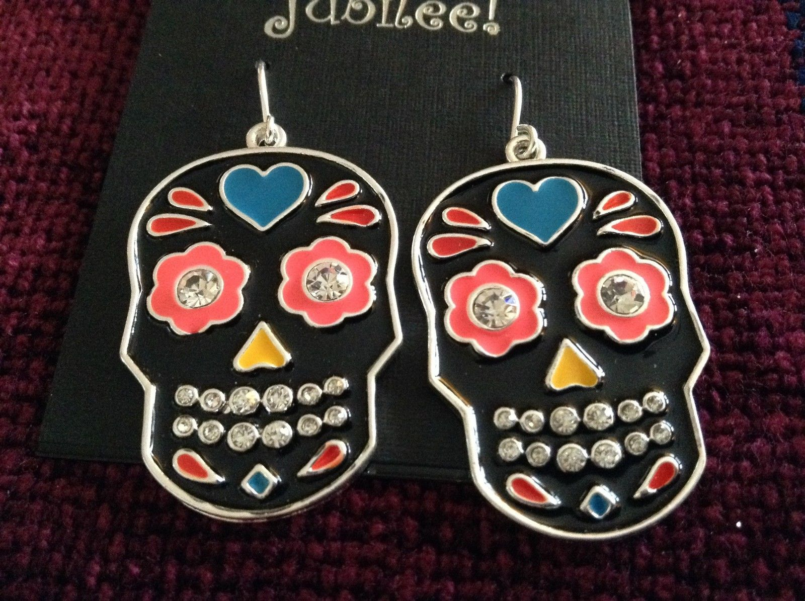 Fashion earrings Day of the Dead Candy Skull with Crystals choice of color