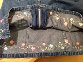 Denim & Co. Short Sleeve Medium Blue Wash Jean Jacket Front Zipper, Size L image 9
