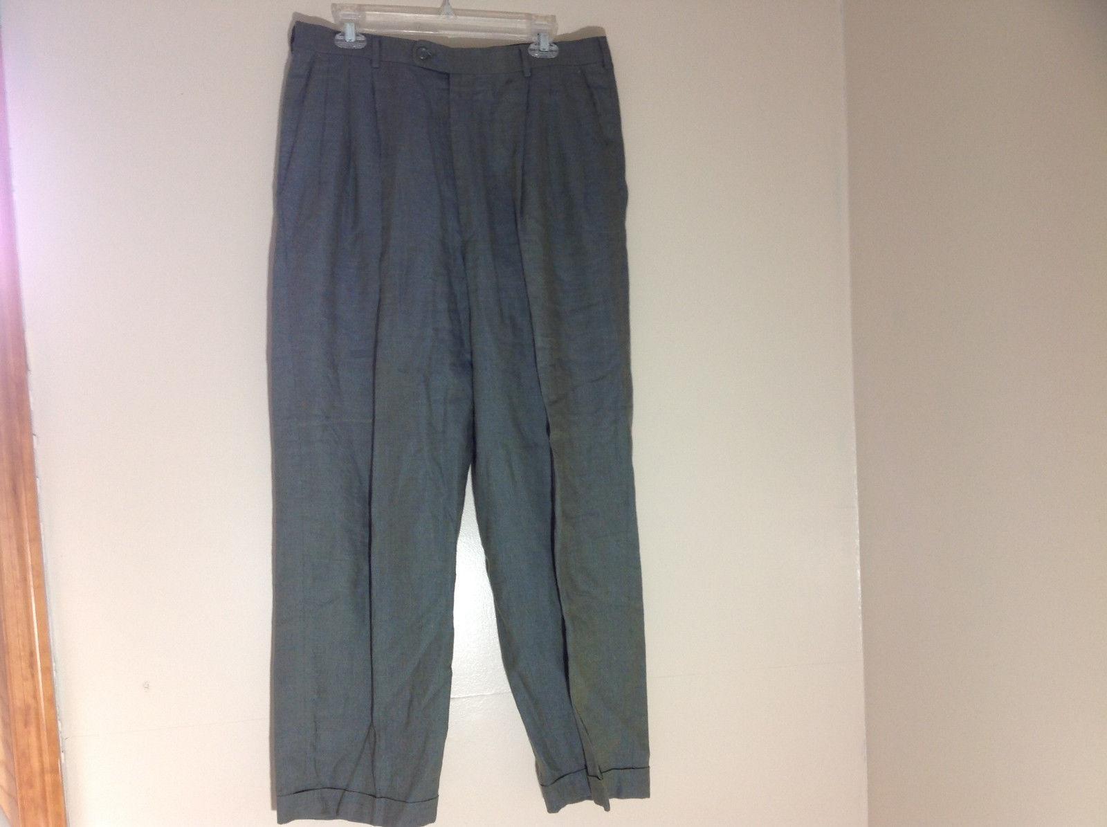 Feldini Blue Green Metallic Like Work Pants Pleated Front Size 34