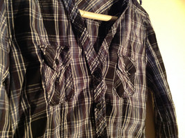 Divided Juniors Fitted Blue Black White Plaid Button Up Long Sleeve Shirt Size 4 image 3
