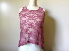 Dusty Rose See Through Tank Top Flower Design Divided by H and M Size 2 image 1