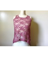 Dusty Rose See Through Tank Top Flower Design Divided by H and M Size 2 - $39.99
