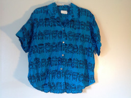 E Spirit Bright Teal Blue Short Sleeve Button Down Shirt with Collar Size S