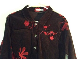 ELCC Stretch Black with Stitched Red Flowers Long Sleeve Blazer Jacket Size M