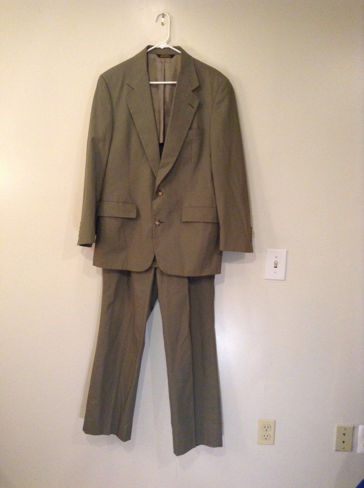 Dusty Green Brown Jacket and Pant Suit Saks Fifth Avenue Measurements Below