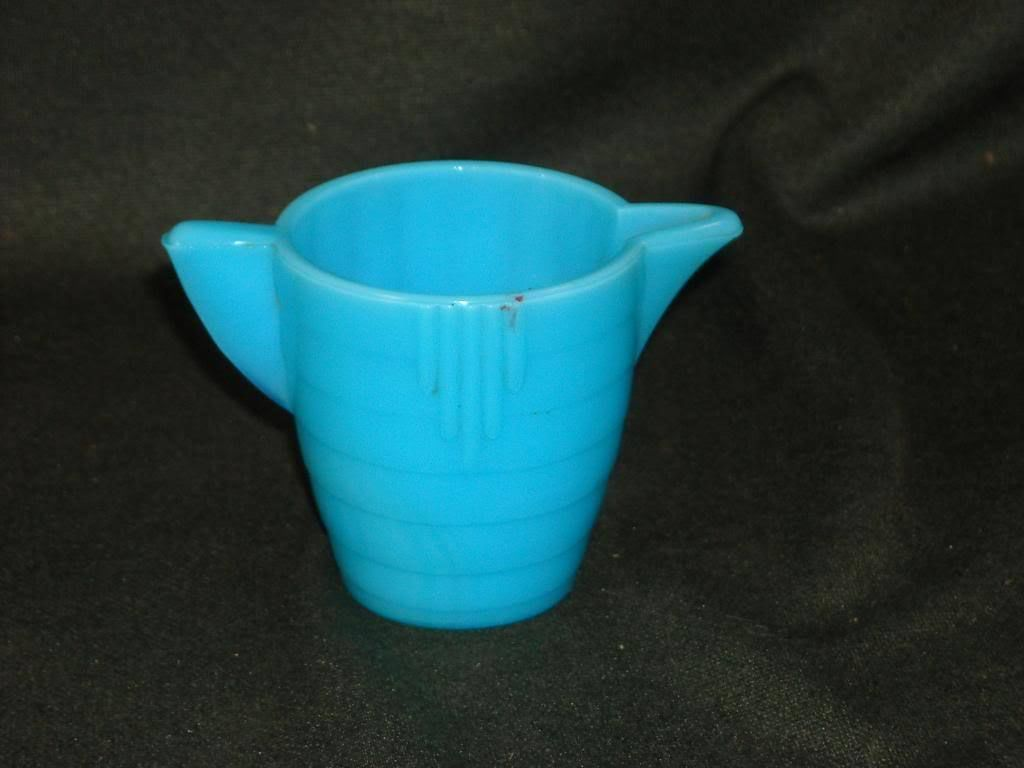 Bright Blue Milk Glass Creamer Pitcher Akro Agate Children's Tea Set