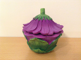 Department 56 Garden Guardian Violet Flower Trinket Box w Small Fairy Inside image 2