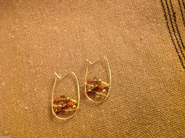 Designer gold wire earrings  with copper and crystal beads abstract hoops image 4