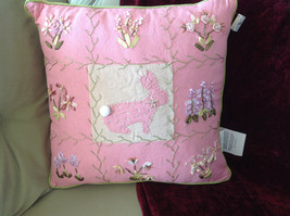 Easter Spring Bunny Rabbit Pink Pillow with Ornaments Great for Spring Fever
