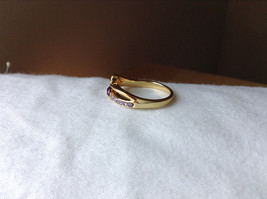 Double Purple CZ with Light Purple Accents Swirl Design Gold Planted Ring Size 7 image 2