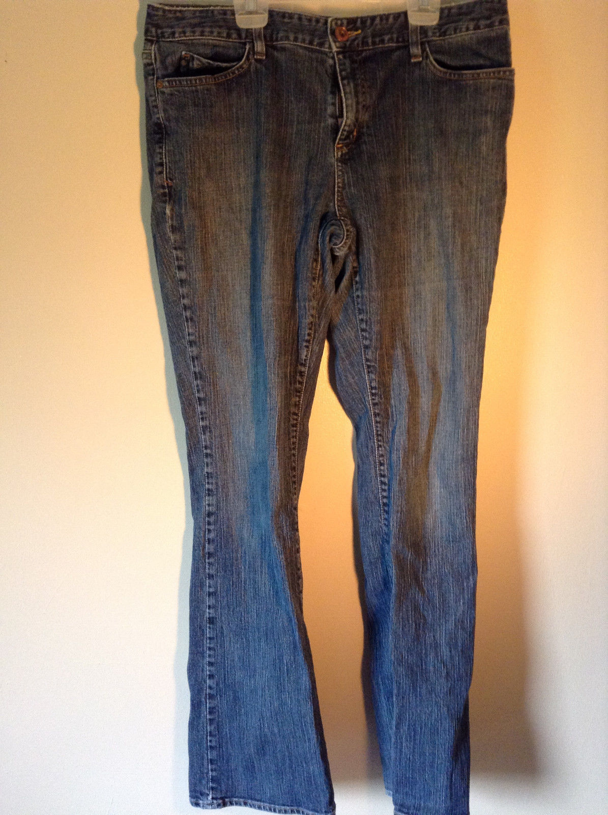 Eddie Bauer Long Dark Blue Jeans Button and Zipper Closure Size 14 Long