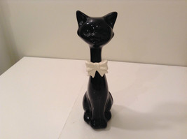 Eight Inches Tall Black Ceramic Cat Figurine with White Bow Tie