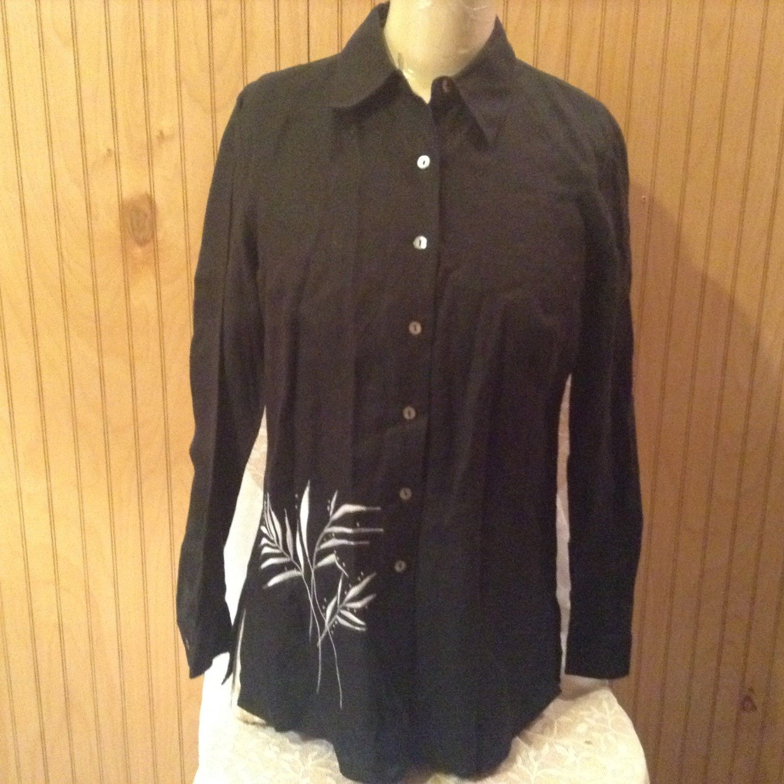 Edward Irish Linen Black 100 Percent Linen Button Down Shirt Size Small