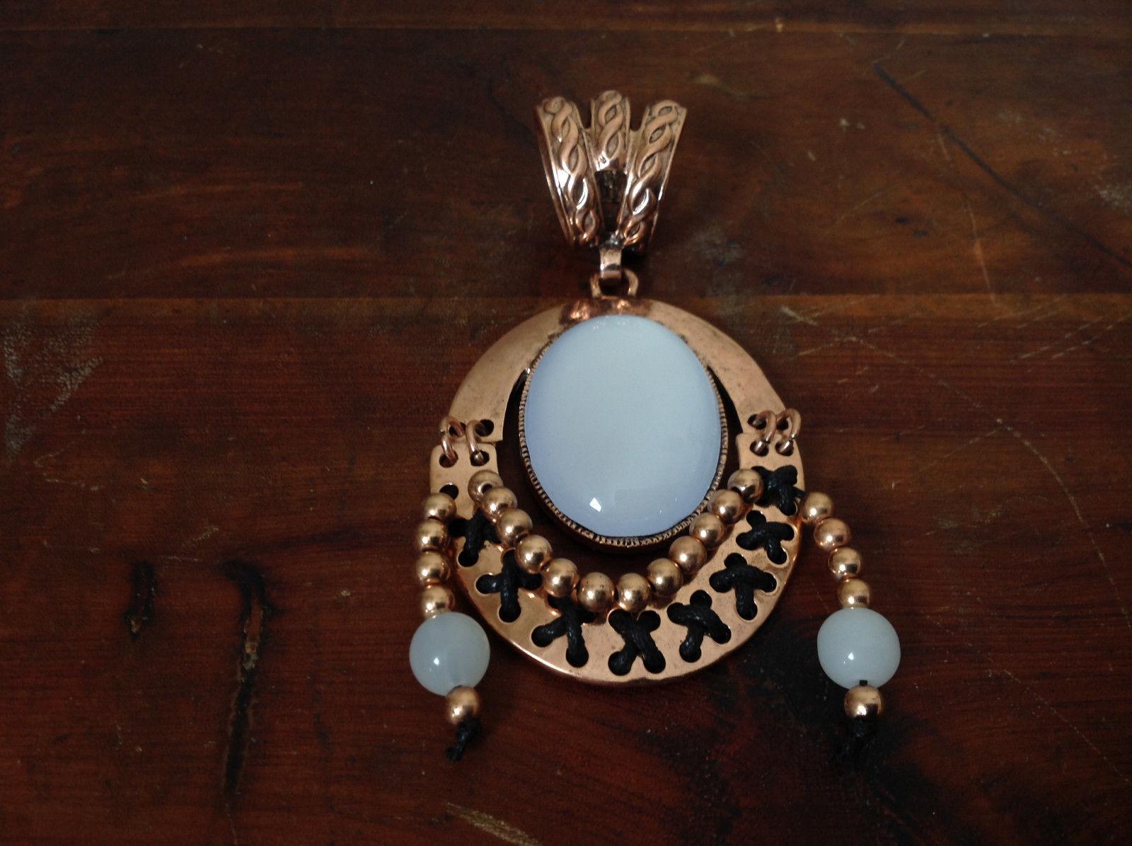 Elegant Bronze Tone Vintage Style Scarf Pendant with Large White Stone and Beads