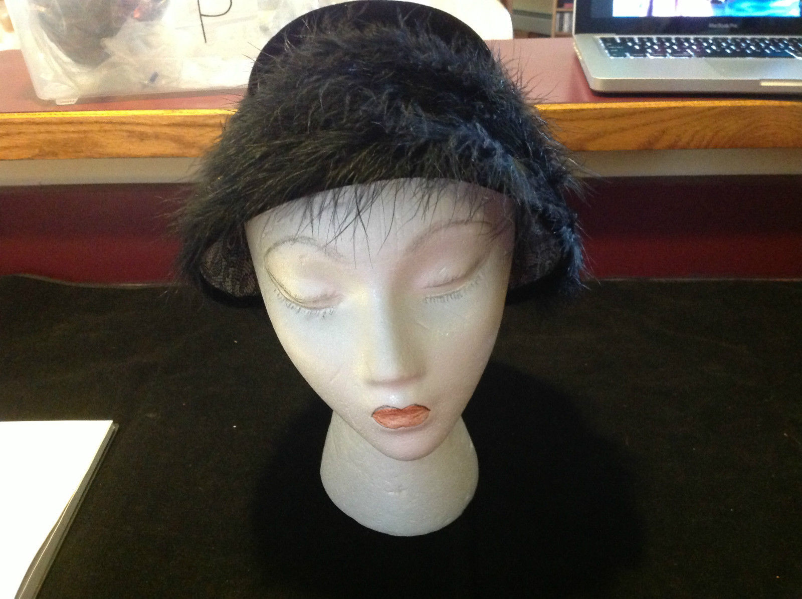 Elegant Ladies Vintage Black Hat with black border 10 Inches Big