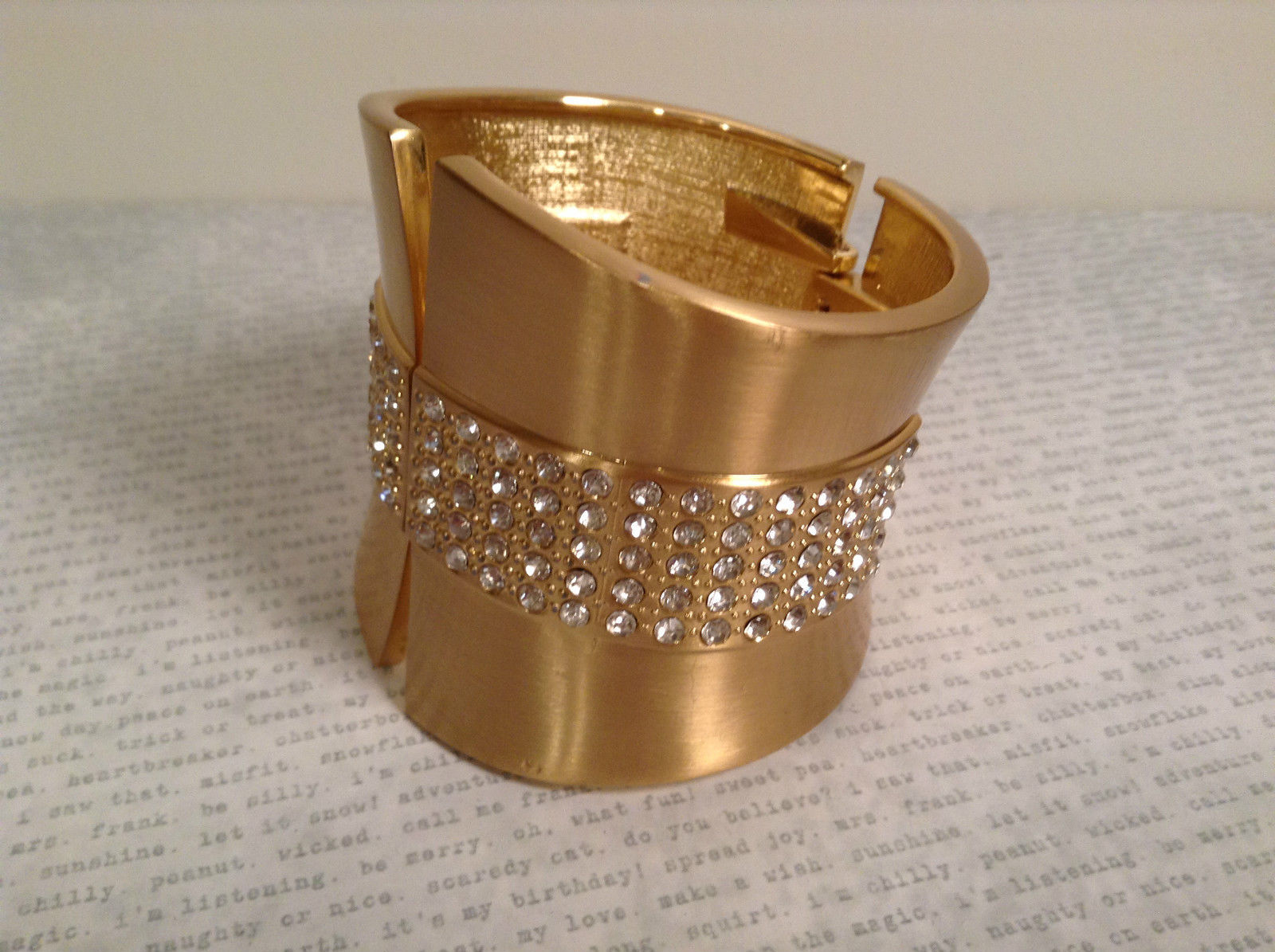 Elegant Gold Tone Clasp Wide Cuff Bracelet with Crystals Spring Clamp