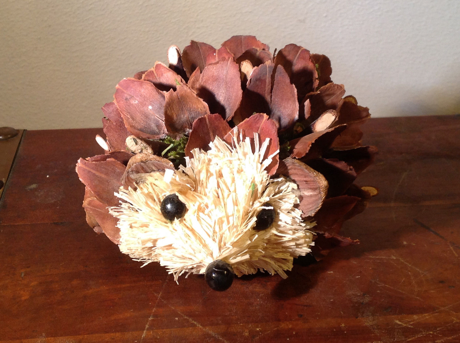 Five Inch Medium Hedgehog Decoration Cute for Display All Natural Materials