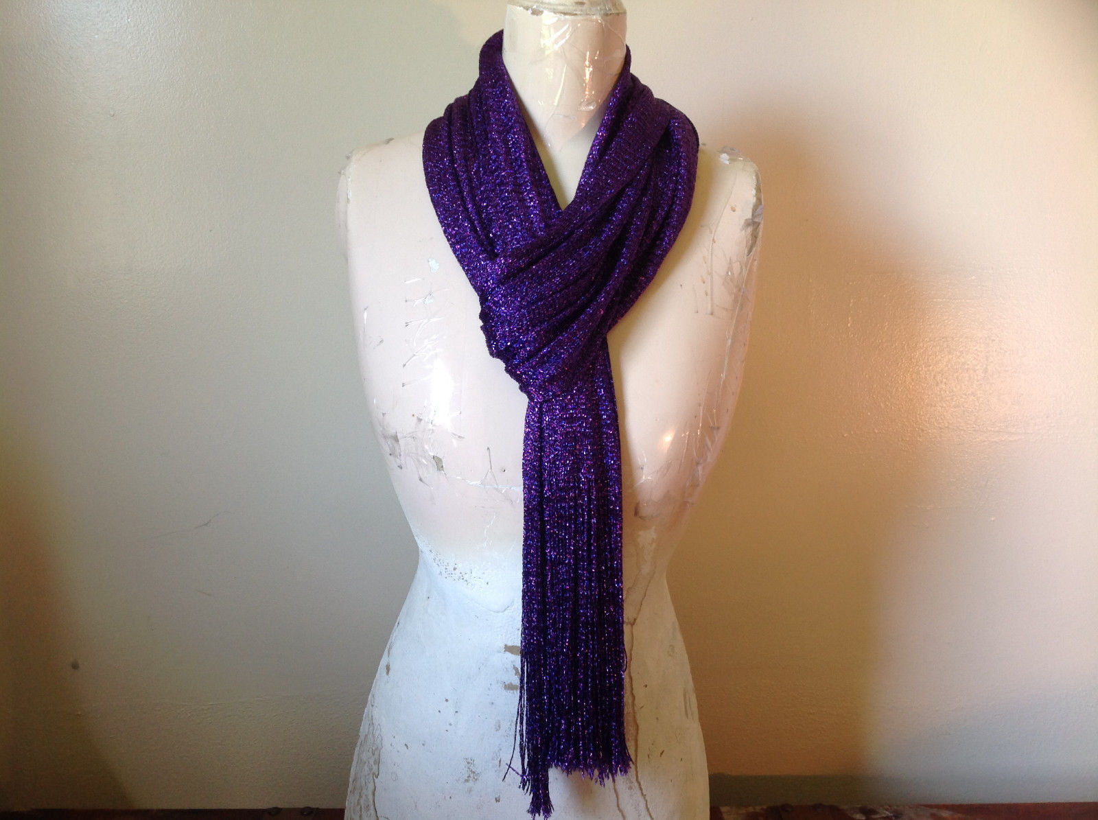 Elegant Purple Metallic Shine Tasseled Fashion Scarf w purple metallic threads