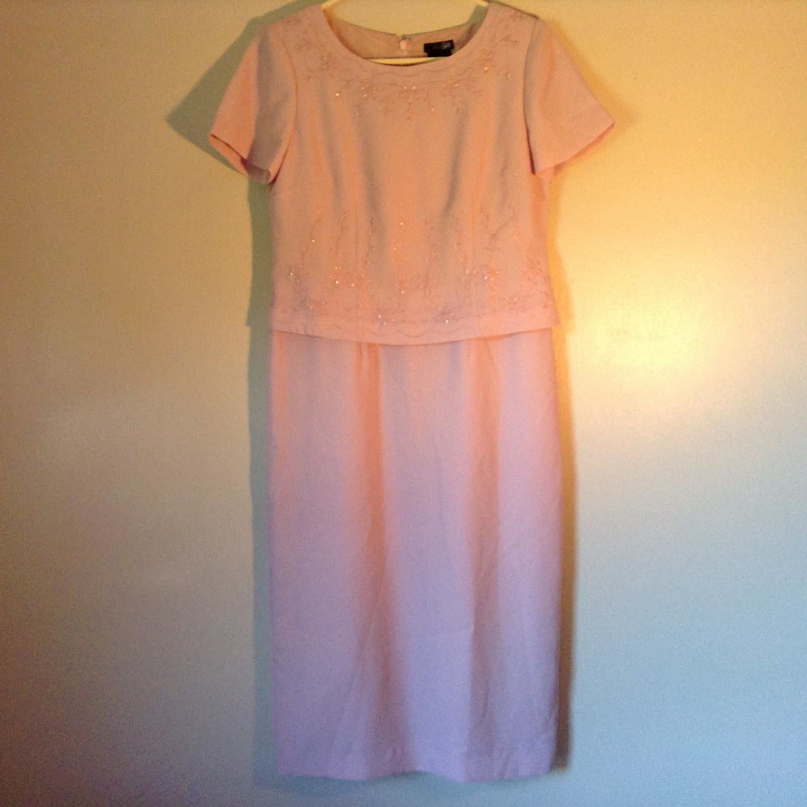 Elegant Light Dusty Rose Pink Dress by East 5th Petite Size 6P Double Layered