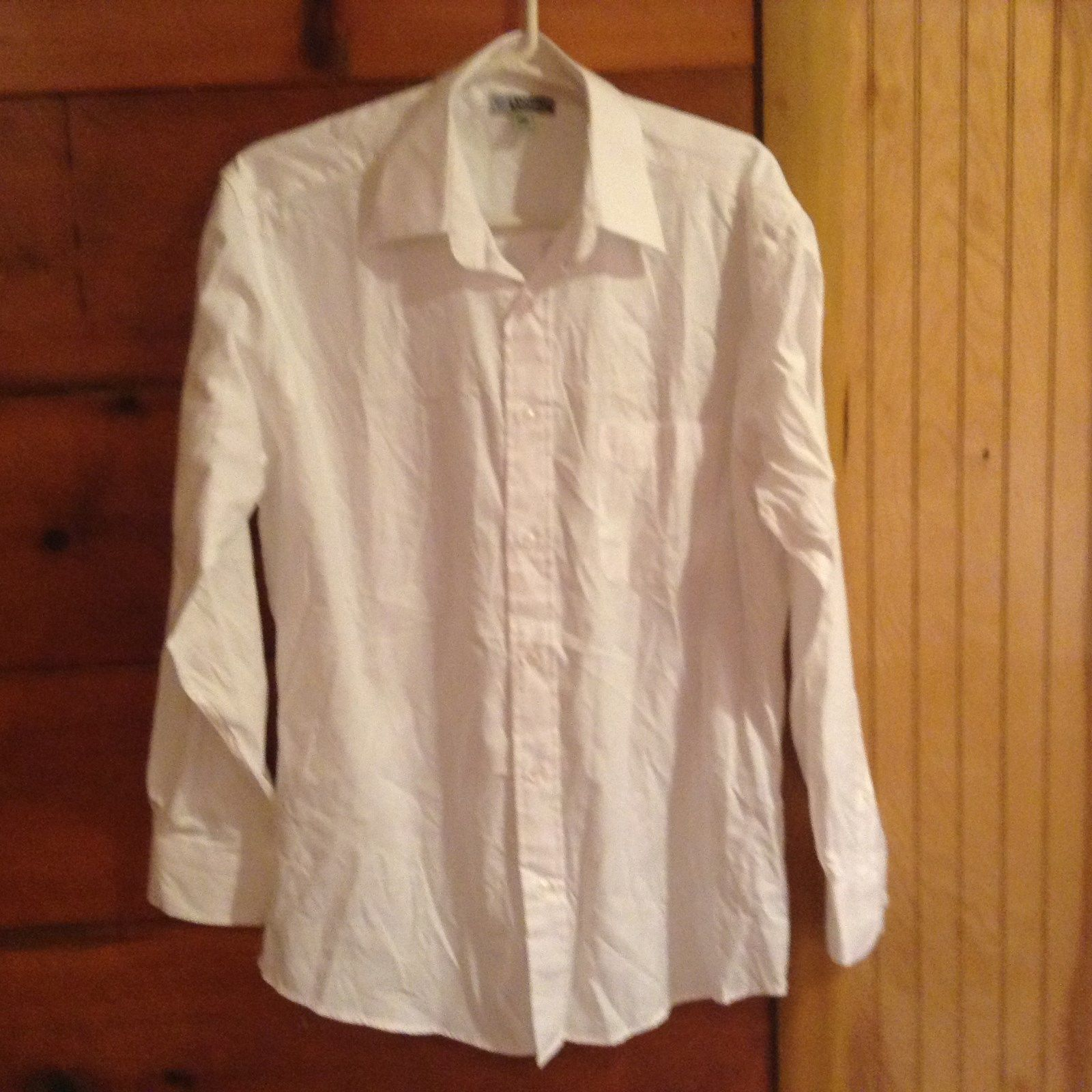 Edwards Signature White Button Down Long Sleeve Dress Shirt Formal Size M33
