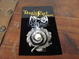 Elegant Silver Tone Finish Flower with Faux Pearl Scarf Pendant by Magic Scarf