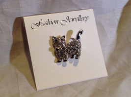 Elegant Silver Tone White Crystal Cat Pin Clasp Closure