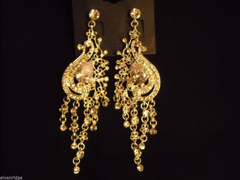 Elegant large dangly Rhinestone Earrings Peacock waterfall design Nickel free