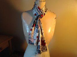 Elegant White Red Black Flowered Scarf Made in India 60 Inches Long