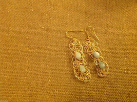 Designer gold wire earrings  with green aventurine cabochon to match necklace image 2