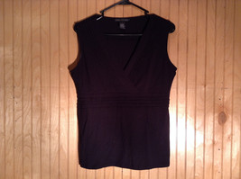 Elena Solano Size Large Black Sleeveless Top with Ruffles Made in USA