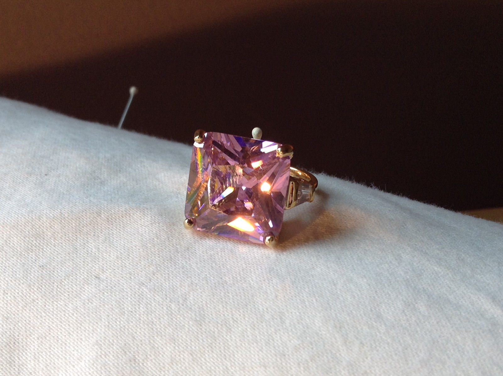 Elegant Square Cut Pink CZ Gold Ring Sizes 10 and 6