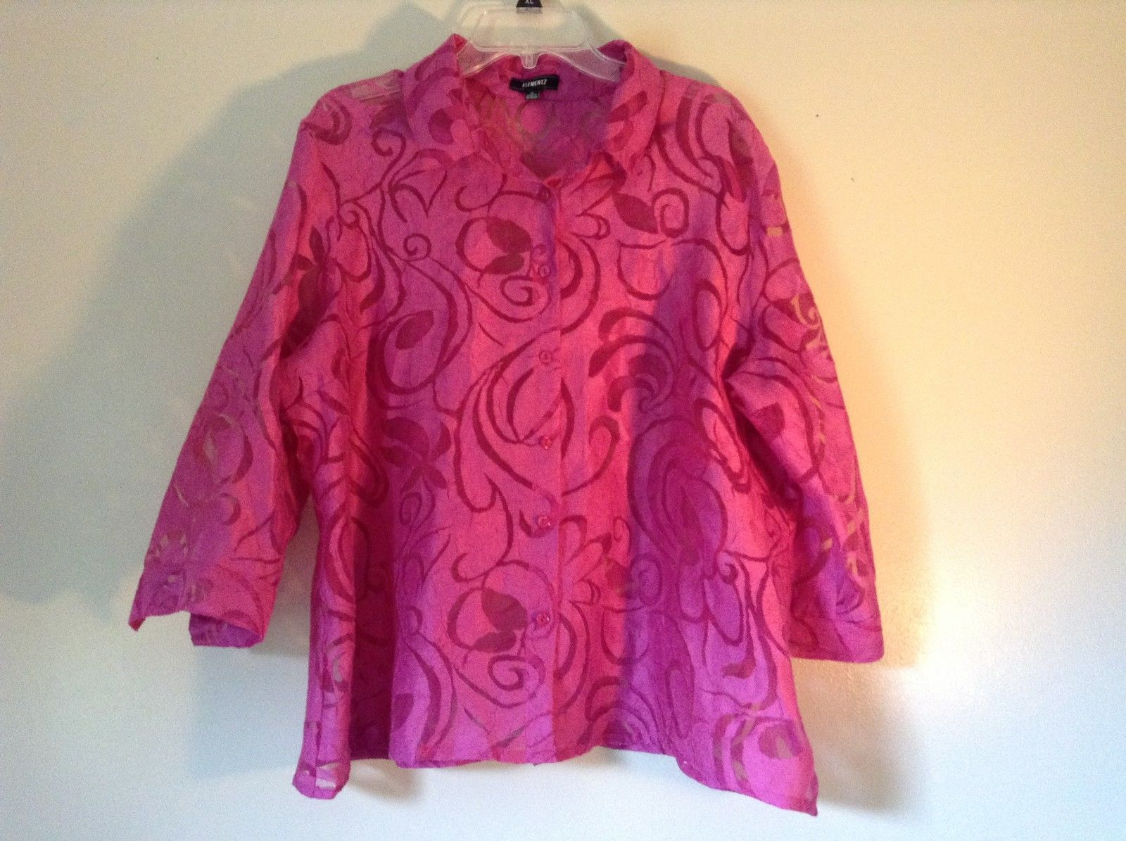 Elemeniz Size XL Pink See Through Long Sleeve Button Down Blouse