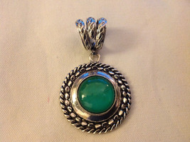 Emerald Colored Stone Scarf Pendant Silver Tone Round  3 Inches Long