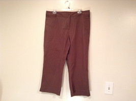Emma James Stretch Size 14 Brown Cotton Blend Capri Pants Button Zipper Closure