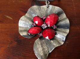 Eye Catching Silver Tone Scarf Pendant with Red Stones and Crystals Leaf Shaped image 4