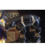 Enamel trinket box Black bear  with crystals and gold detail - $148.49