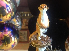 Enamel trinket box Meerkat standing up with crystals and gold detail