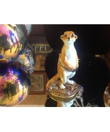 Enamel trinket box Meerkat standing up with crystals and gold detail - $148.49