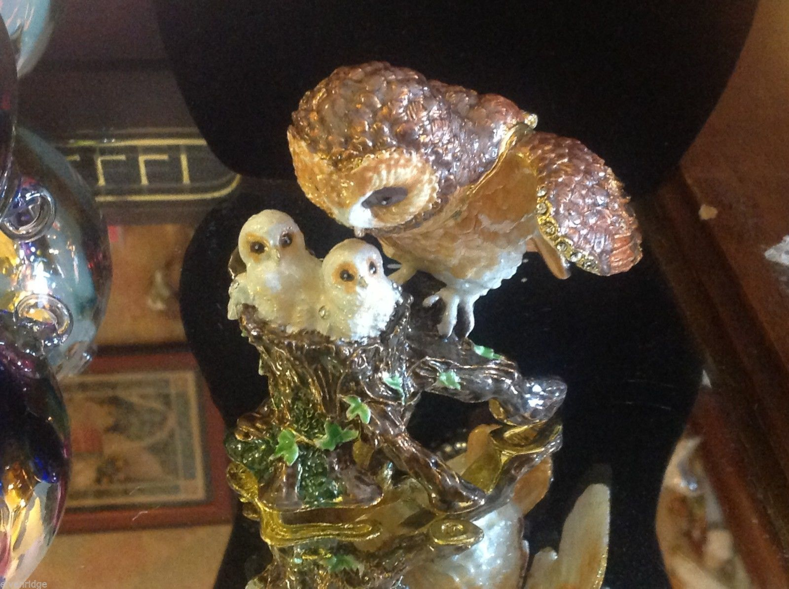 Enamel trinket box barn owl family  with crystals and gold detail