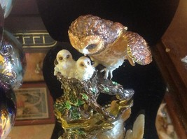 Enamel trinket box barn owl family  with crystals and gold detail image 1