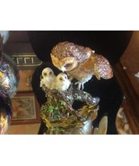 Enamel trinket box barn owl family  with crystals and gold detail - $148.49