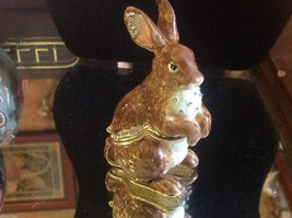 Enamel trinket box brown rabbit  with crystals and gold detail