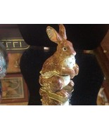 Enamel trinket box brown rabbit  with crystals and gold detail - $148.49