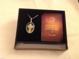 Faith Spanish Fe faith cross pendant w saying in  Espanol w gift box #2 image 3